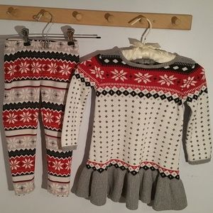 Gymboree Size 3T  Red Snowflake Sweater Dress Pant